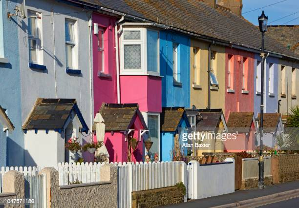Multi-coloured terraced houses in Westwood Ho!
