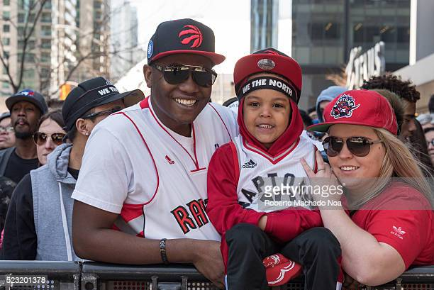 ACC TORONTO ONTARIO CANADA NBA Multicultural family watching Raptors play off game 1 Basketball fans gathered outside the Air Canada Centre to watch...