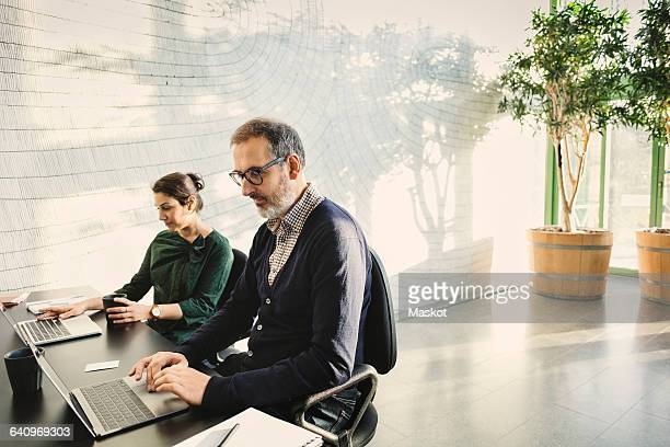 Multi-ethnic business people using laptops at table in creative office