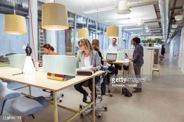 multi-ethnic business people working at desk in office - coworking stock-fotos und bilder
