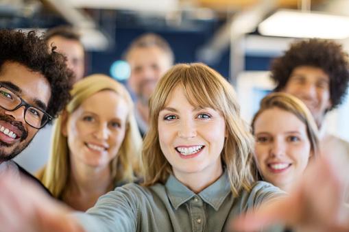 Multi-ethnic business team taking a selfie - gettyimageskorea