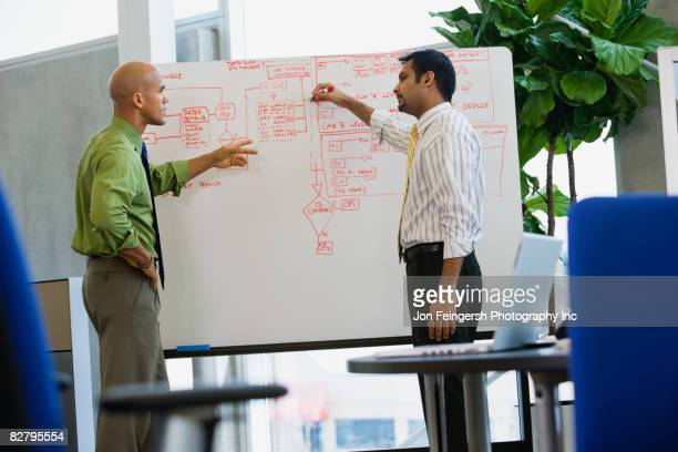 multi-ethnic businessmen writing on whiteboard in office - diagramma di flusso foto e immagini stock