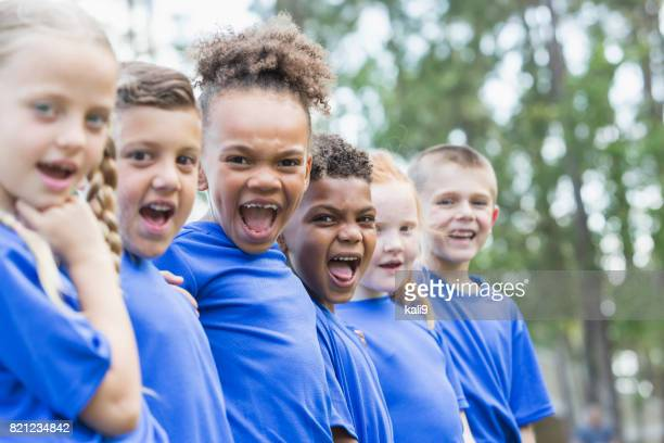 multi-ethnic children at summer camp - naughty america member stock photos and pictures