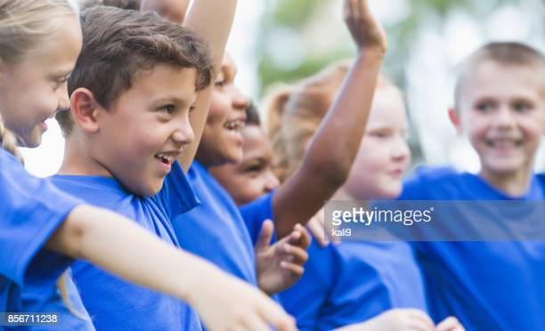 multi-ethnic children at summer camp - sports training camp stock pictures, royalty-free photos & images