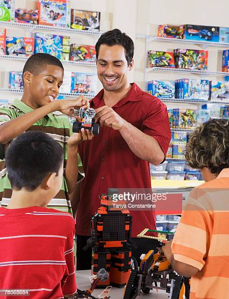 Multi-ethnic children playing in toy store