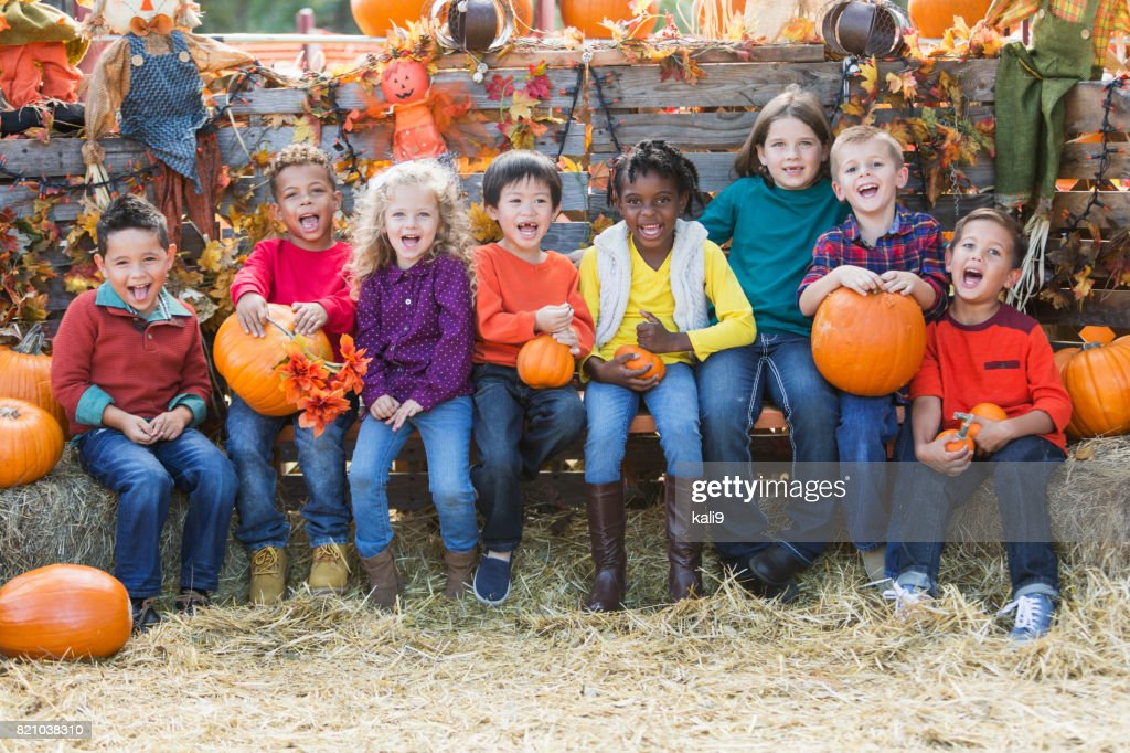 Multi-ethnic children with pumpkins at fall festival : Stock Photo