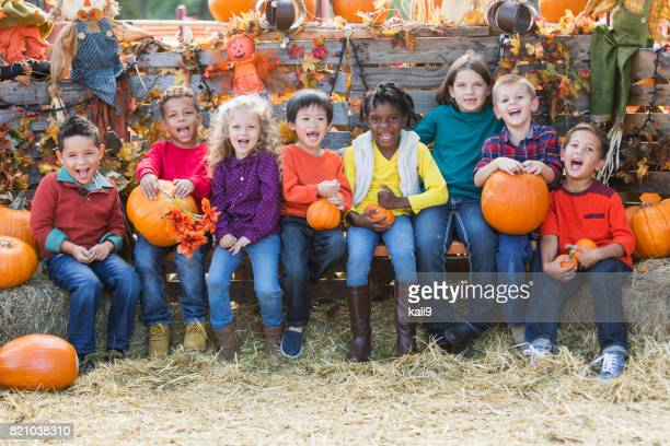 multi-ethnic children with pumpkins at fall festival - traditional festival stock pictures, royalty-free photos & images