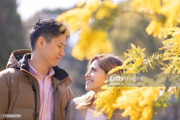 multi-ethnic couple looking at each other in mimosa blossoms - mimosa albero foto e immagini stock