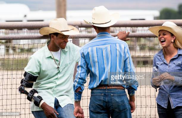 multi-ethnic cowboy group at rodeo - brace stock pictures, royalty-free photos & images