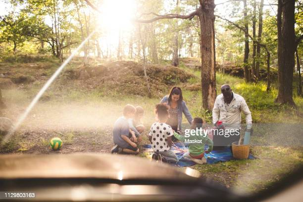 multi-ethnic family enjoying picnic at park - alternative fuel vehicle stock pictures, royalty-free photos & images
