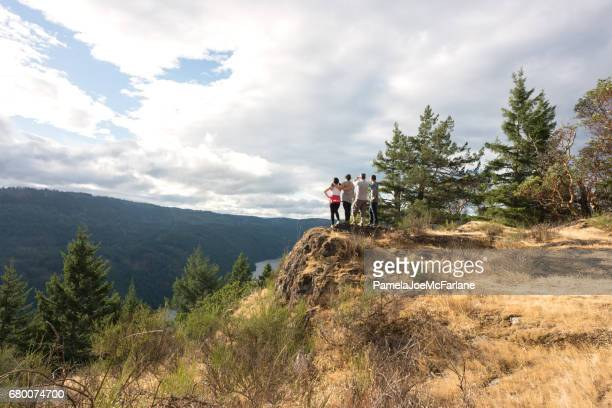 multi-ethnic family group of hikers looking over viewpoint on mountaintop - wilderness stock photos and pictures