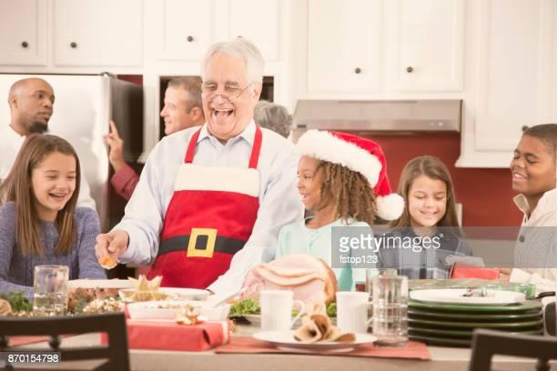 Multi-ethnic family in home kitchen preparing Christmas dinner.