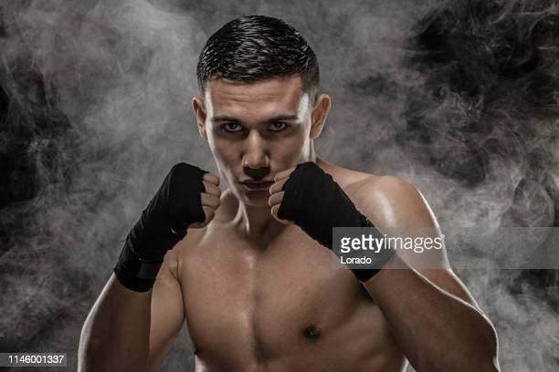 multi-ethnic fight sport athlete shadow boxing - professional sportsperson stock pictures, royalty-free photos & images