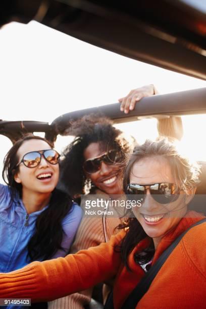Multi-ethnic friends on roadtrip