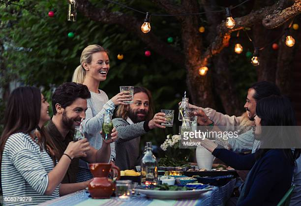 multi-ethnic friends toasting drinks at dinner table in yard - warmes abendessen stock-fotos und bilder
