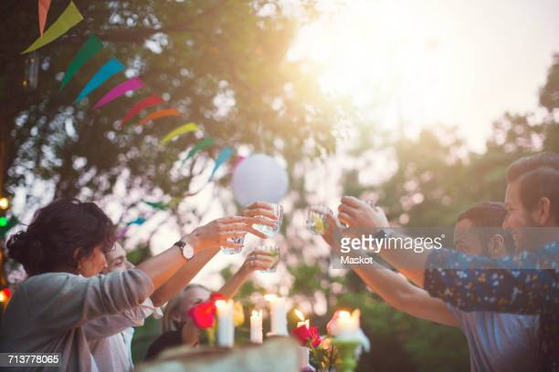 Multi-ethnic friends toasting drinks at garden party