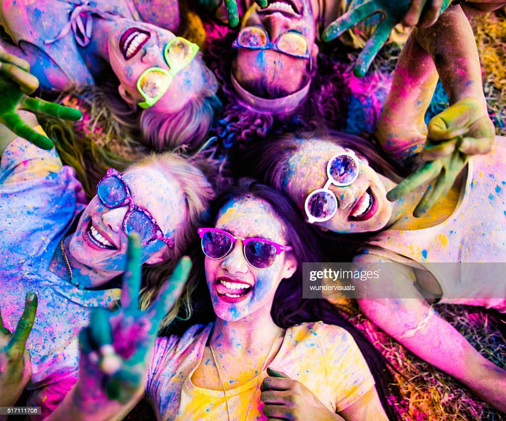 Multi-Ethnic Group Celebrating Holi Festival in Park : Stock Photo