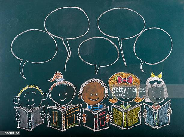 Multi-Ethnic Group of Children Sketched on Blackboard