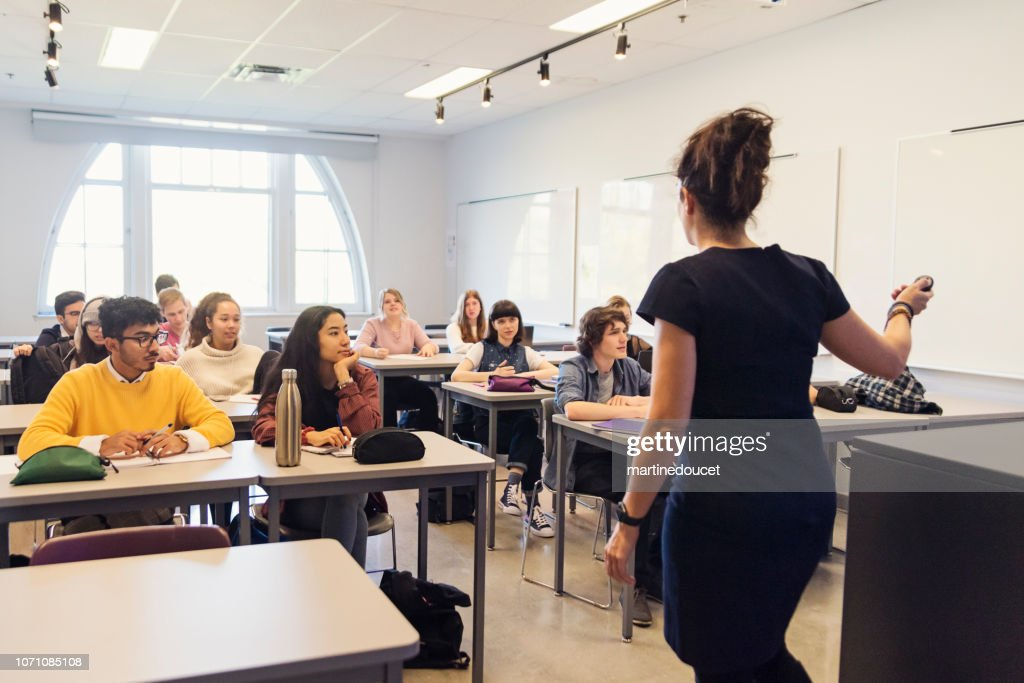 Multi-ethnic group of College students in classroom. : Stock Photo