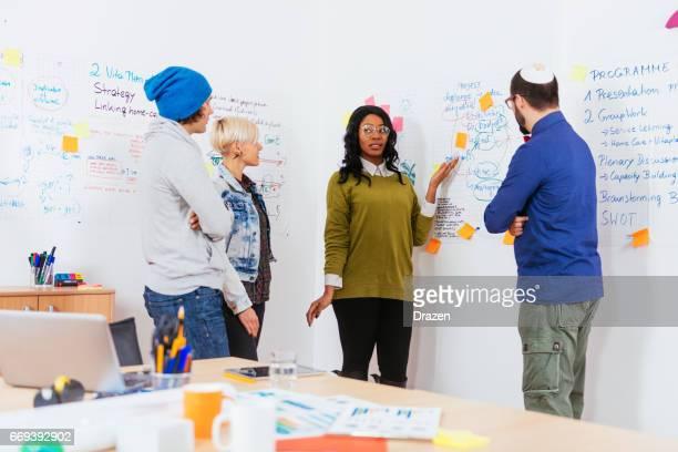 フリップチャートとオフィスのチームワークでディベートの専門家の多民族のグループ
