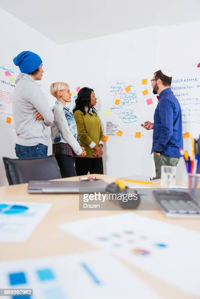 Multi-ethnic group of experts debating in teamwork in office with flipcharts
