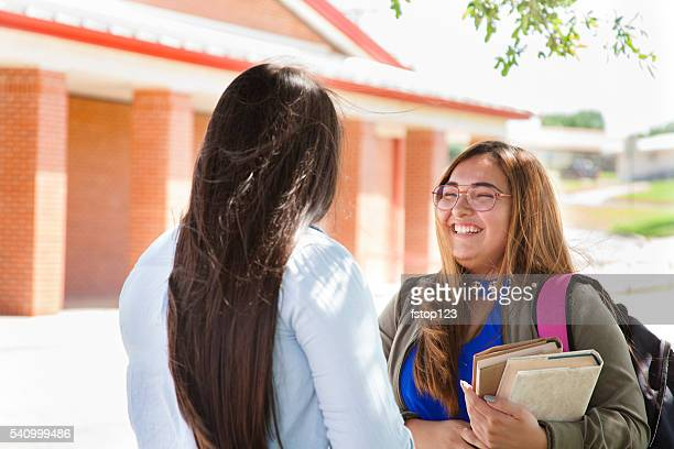 Multi-ethnic group of high school or college girls talking.  Campus.