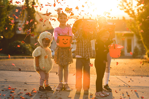 Multiethnic group of kids trick or treating 1007254462