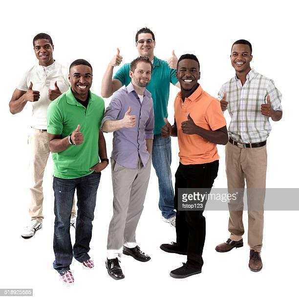 Multi-ethnic group of men on white background. Thumbs up.