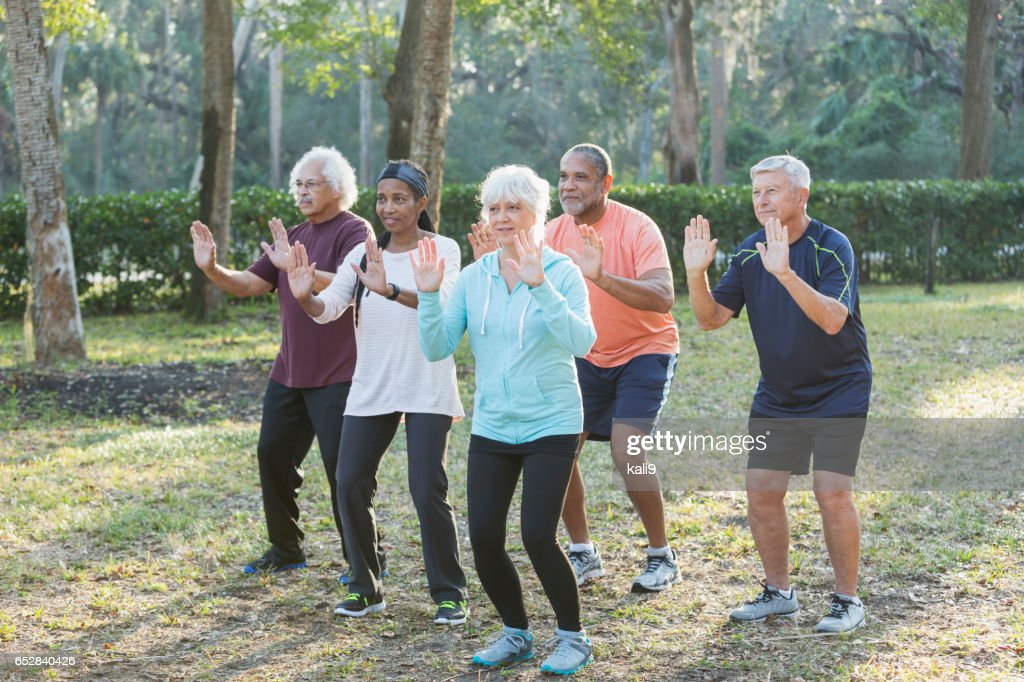 Multi-ethnic group of seniors taking tai chi class : Stock Photo