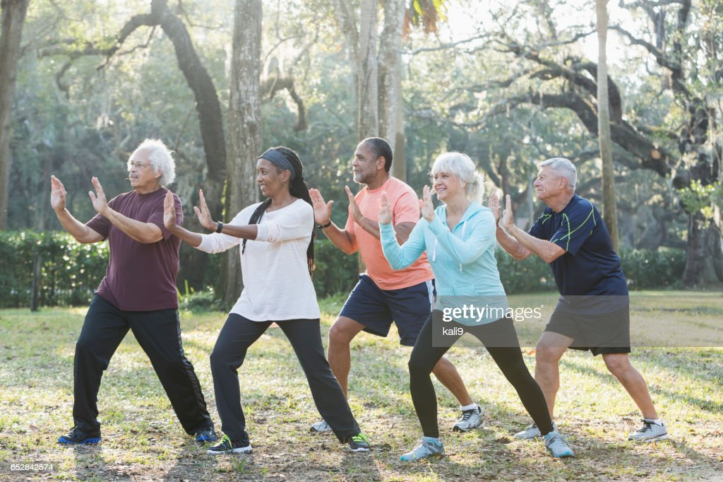 Multi-ethnic group of seniors taking tai chi class : Stock Photo