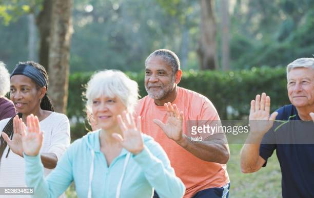 Multi-ethnic group of seniors taking tai chi class