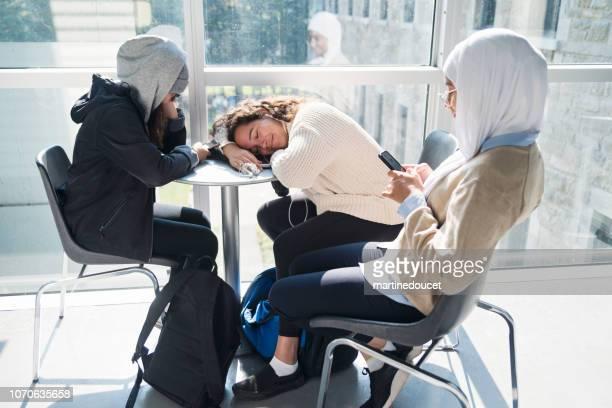 """multi-étnica grupo de estudantes pendurado no hall da faculdade. - """"martine doucet"""" or martinedoucet - fotografias e filmes do acervo"""