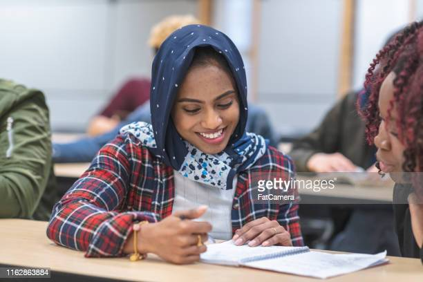 a multi-ethnic group of students listen in lecture - settler stock pictures, royalty-free photos & images