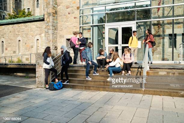 Multi-ethnic group of students taking a break in front of College doors.