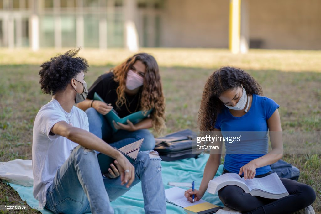 Multi-ethnic group of students wearing masks on campus : Stock Photo