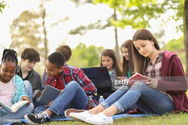 multi-ethnic group of teenagers at park with friends. - junior high student stock pictures, royalty-free photos & images
