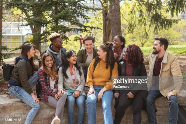 multi-ethnic group of university students playing - medium group of people stock pictures, royalty-free photos & images
