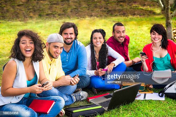 Multi-ethnic group of young students studying at university campus