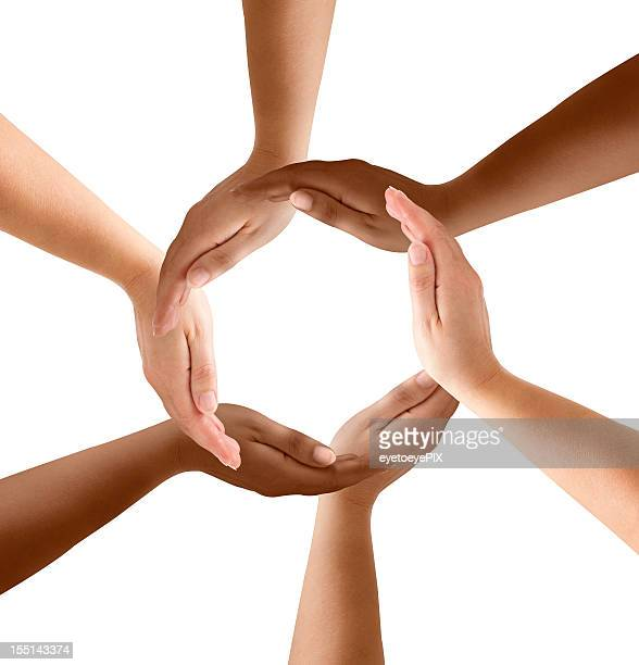 multiethnic hands forming circle - surrounding stock pictures, royalty-free photos & images