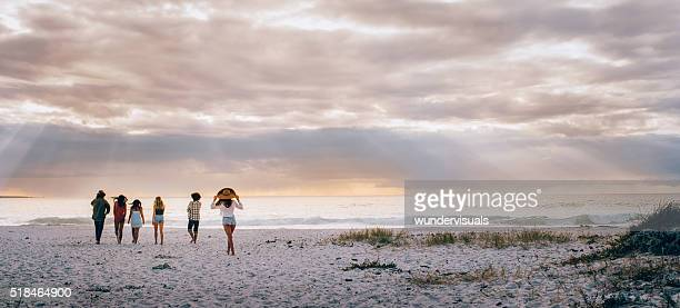 Multi-Ethnic Hipster Friends Walking on Sandy Beach