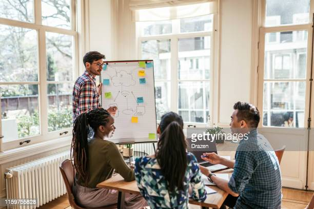 multi-ethnic millennial business team - presentation of blockchain scheme in the office - blockchain stock pictures, royalty-free photos & images