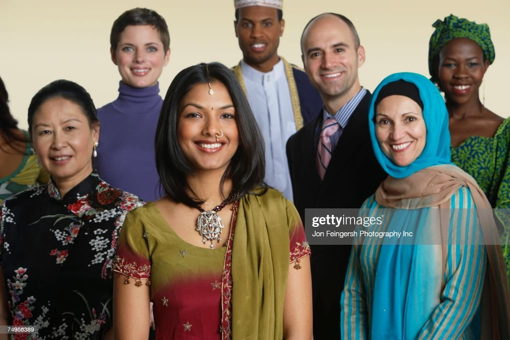 Multi-ethnic people in traditional dress : Stock Photo