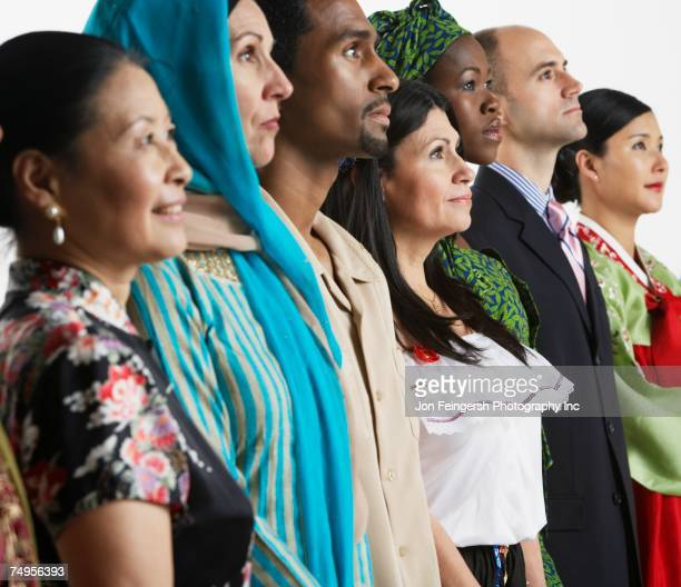 multi-ethnic people in traditional dress - ethnicity stock pictures, royalty-free photos & images