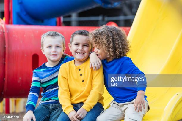 multi-ethnic schoolboys on playground - only boys stock photos and pictures