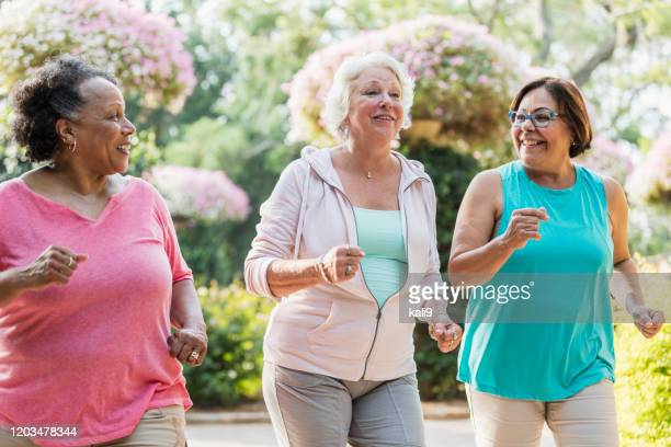 multi-ethnic senior women exercising together - 60 69 years stock pictures, royalty-free photos & images