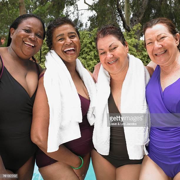 Multi-ethnic senior women in bathing suits