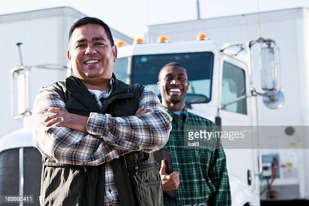 multi-ethnic truck drivers - trucking stock pictures, royalty-free photos & images