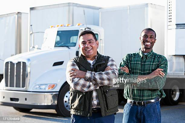 Multi-ethnic truck drivers