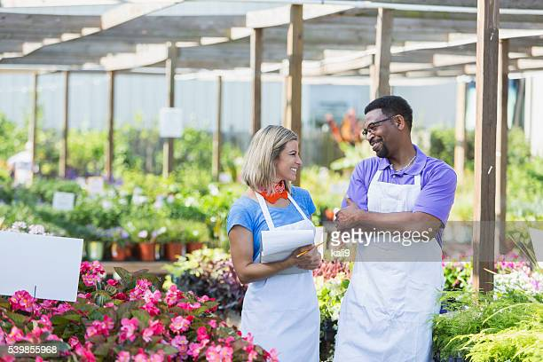 Multi-ethnic workers in a plant nursery