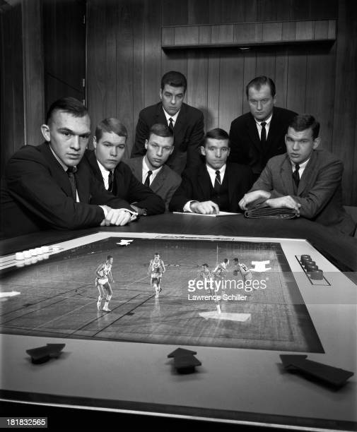 Multiexposure portrait of five members of the Duke University basketball team seated from left Bob Verga Mike Lewis Jack Marin Steve Vacendak and Bob...